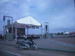 Panggung Tempat Acara Festifal Musi yang ada di Depan Benteng Kuto Besak